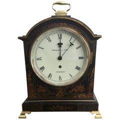 George III Style Black Chinoiserie Fusee Bracket Clock English, 19th Century