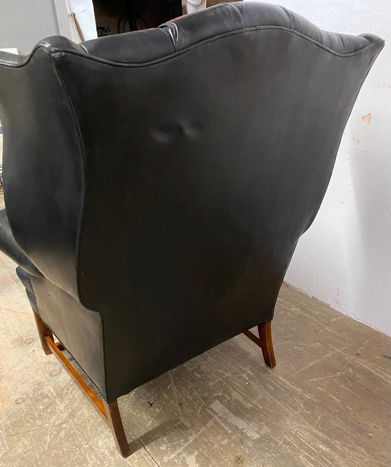 20th Century George III Style Black Leather Chesterfield Tufted Wing Chair For Sale