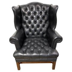 George III Style Black Leather Chesterfield Tufted Wing Chair