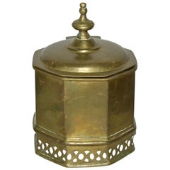 George III Style Brass Container with Lid