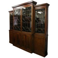 George III Style Breakfront Four-Door Cabinet Bookcase, circa 1850