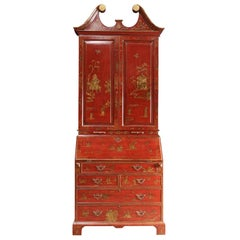 George III Style Chinoiserie Red Lacquered Secretary Bookcase