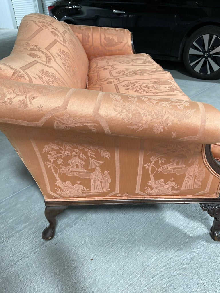 George III Style Chippendale Sofa with an Asian Motif Upholstery, circa 1900 For Sale 4