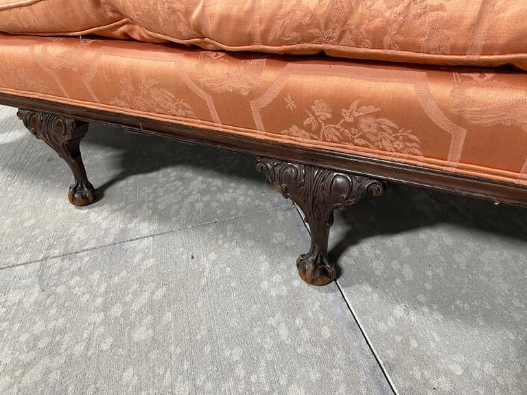 George III Style Chippendale Sofa with an Asian Motif Upholstery, circa 1900 For Sale 6