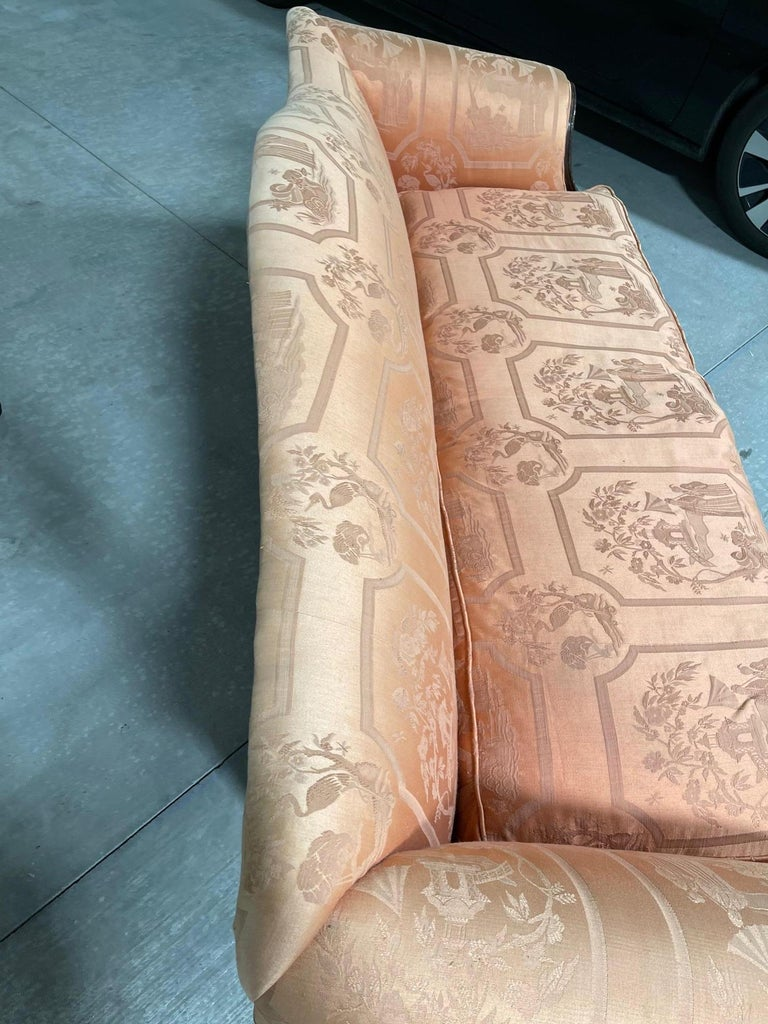 George III Style Chippendale Sofa with an Asian Motif Upholstery, circa 1900 For Sale 2