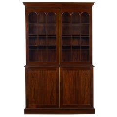 George III Style English Antique Rosewood Breakfront Bookcase Cabinet