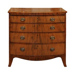George III Style English Bow Front Mahogany Chest with Brushing Slide