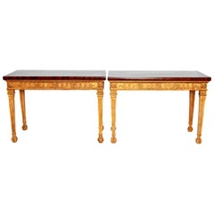 George III-Style Giltwood and Mahogany Console Tables / Pair