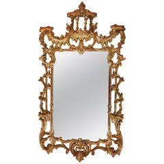 George III Style Giltwood Carved Hillwood Mirror, 20th Century