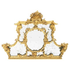 George III Style Giltwood Overmantel Mirror with Shell Carved Cartouche
