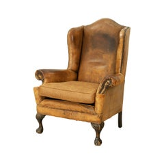 George III Style Leather Wing Armchair, Victorian