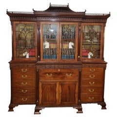George III Style Mahogany Breakfront Secretaire Library Bookcase