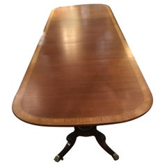 George III-Style Mahogany Dining Table, Banded and Rounded Rectangular Top