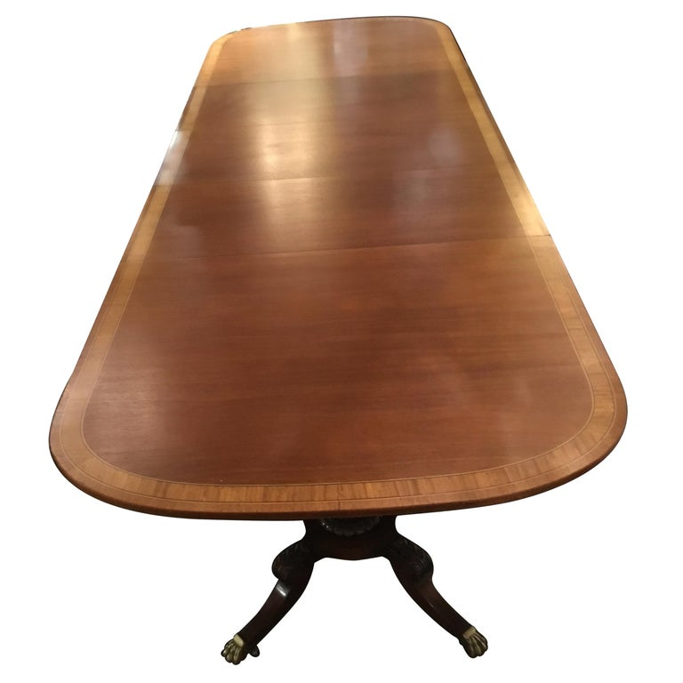 George III-Style Mahogany Dining Table, Banded and Rounded Rectangular Top For Sale