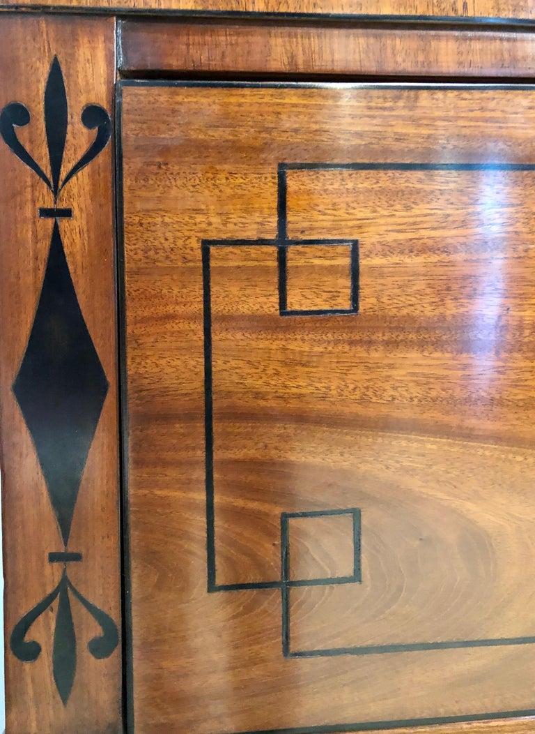 George III Style Mahogany Secretaire Bookcase Flame Mahogany with Ebony Inlays For Sale 5