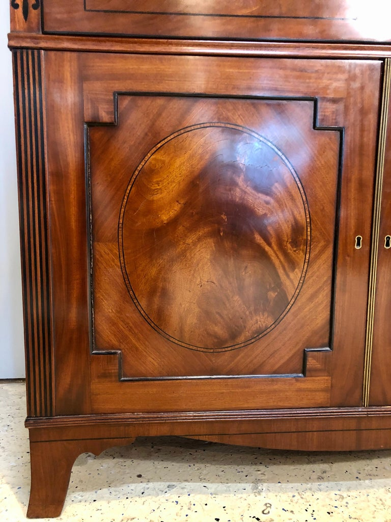 George III Style Mahogany Secretaire Bookcase Flame Mahogany with Ebony Inlays For Sale 6