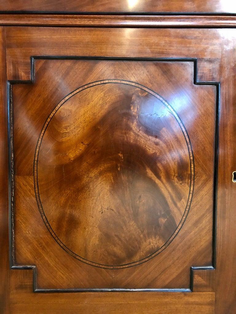 George III Style Mahogany Secretaire Bookcase Flame Mahogany with Ebony Inlays For Sale 7