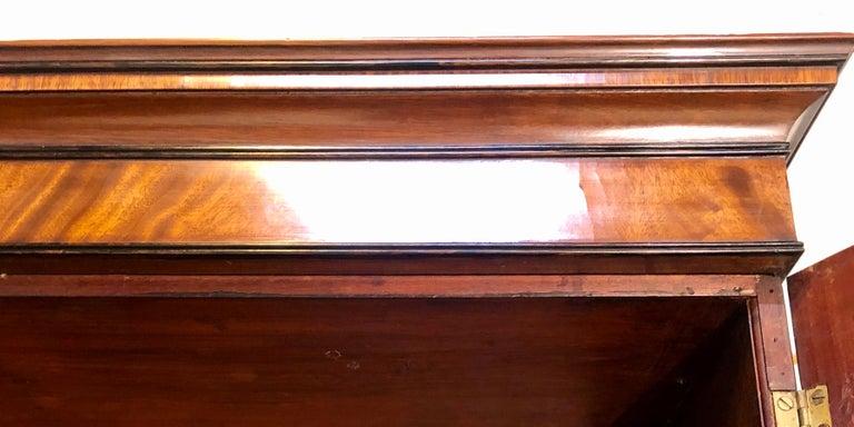 George III Style Mahogany Secretaire Bookcase Flame Mahogany with Ebony Inlays For Sale 12