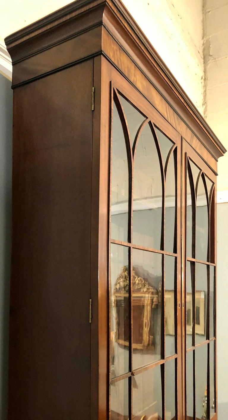 George III Style Mahogany Secretaire Bookcase Flame Mahogany with Ebony Inlays For Sale 13
