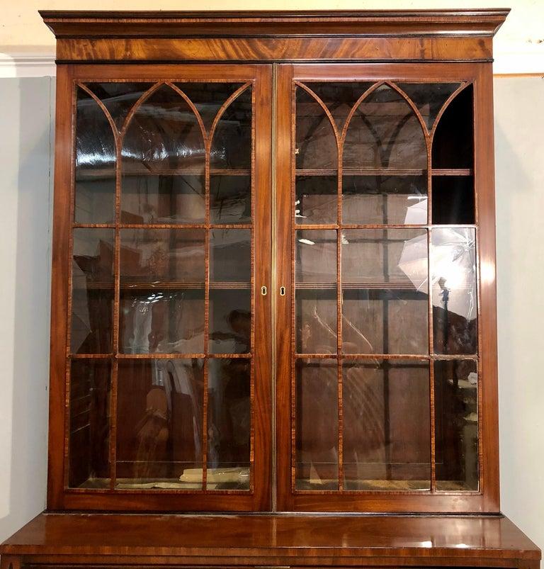 English George III Style Mahogany Secretaire Bookcase Flame Mahogany with Ebony Inlays For Sale