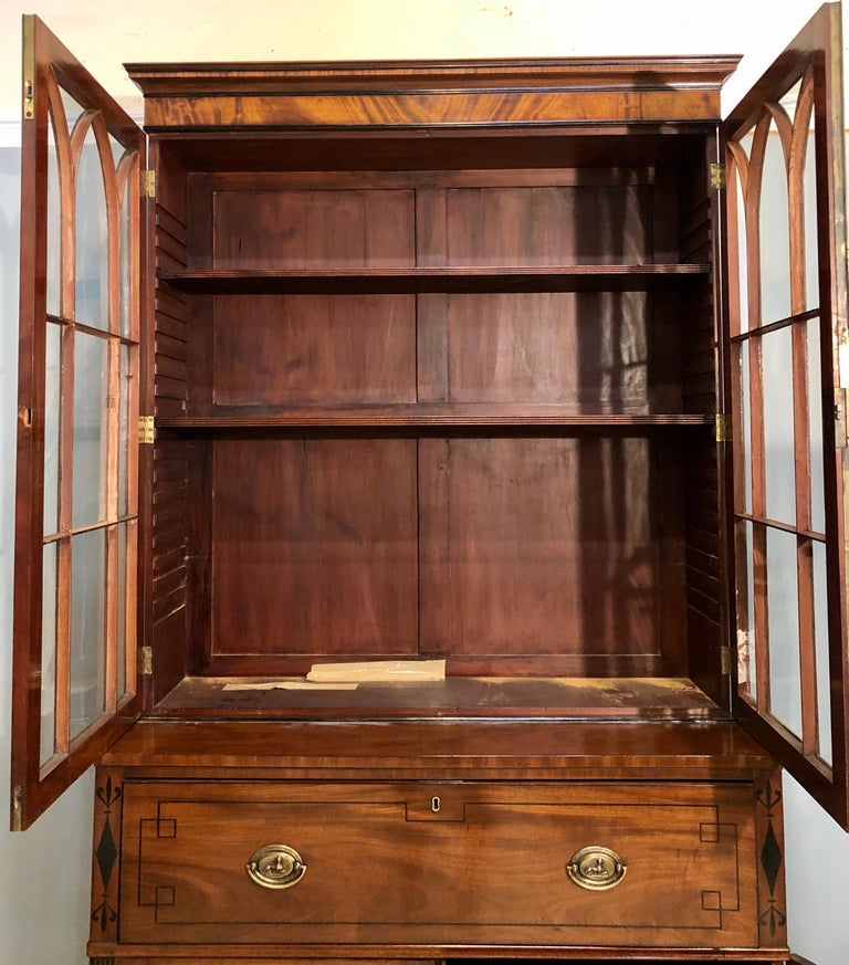 George III Style Mahogany Secretaire Bookcase Flame Mahogany with Ebony Inlays In Good Condition For Sale In Stamford, CT