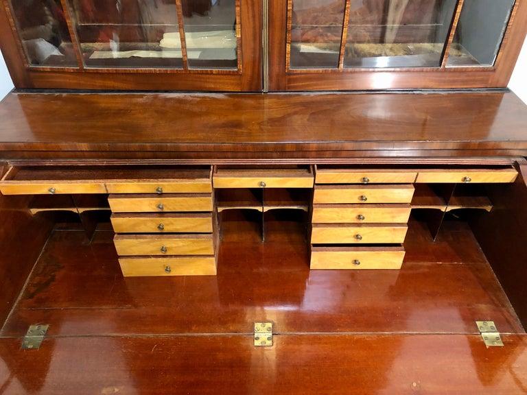 19th Century George III Style Mahogany Secretaire Bookcase Flame Mahogany with Ebony Inlays For Sale