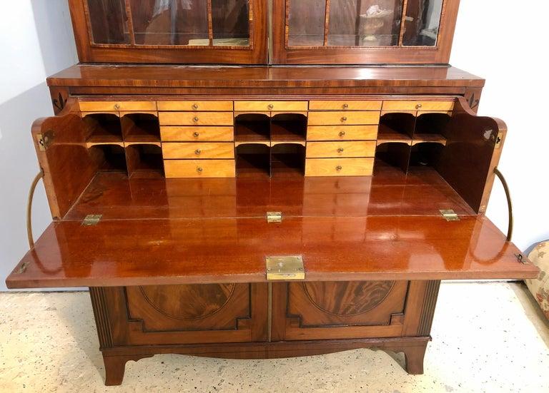 George III Style Mahogany Secretaire Bookcase Flame Mahogany with Ebony Inlays For Sale 1
