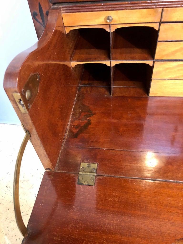 George III Style Mahogany Secretaire Bookcase Flame Mahogany with Ebony Inlays For Sale 2
