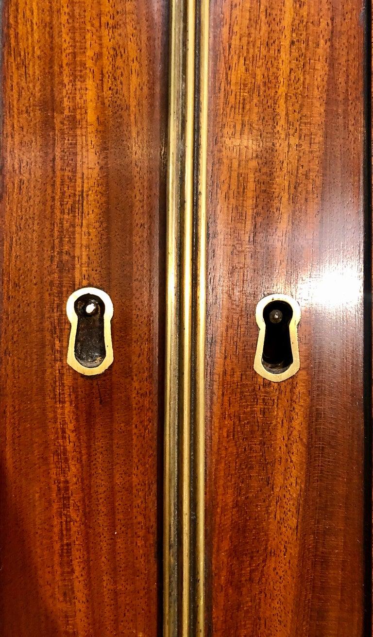 George III Style Mahogany Secretaire Bookcase Flame Mahogany with Ebony Inlays For Sale 3