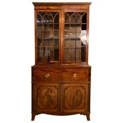 George III Style Mahogany Secretaire Bookcase Flame Mahogany with Ebony Inlays