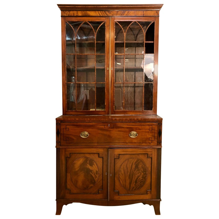 George III Style Mahogany Secretaire Bookcase Flame Mahogany with Ebony Inlays For Sale