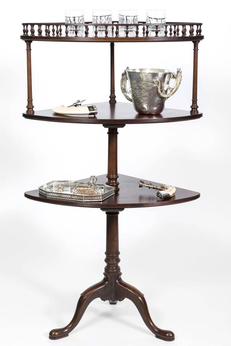 George III Style Mahogany Three-Tiered Corner Stand For Sale 2