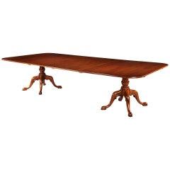 George III Style Mahogany Tow Pillar Dining Table