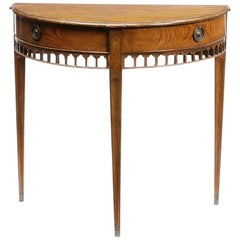George III Style Oak Demilune Console Table, 19th Century
