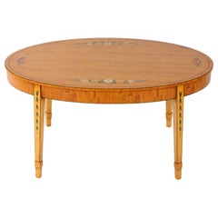 George III Style Oval Shape Burlwood Coffee Table