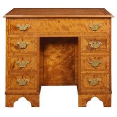 George III Style Satinwood Kneehole Desk