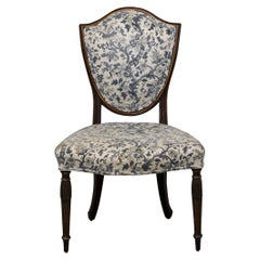 George III Style Shield Back Side Chair with Floral Upholstery, 19th Century