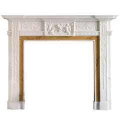George III Style Statuary and Sienna Marble Fireplace