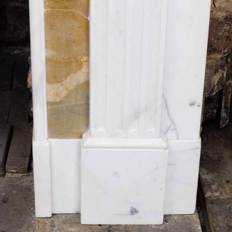 George III Style Statuary and Sienna Marble Neoclassical Fireplace For Sale 4