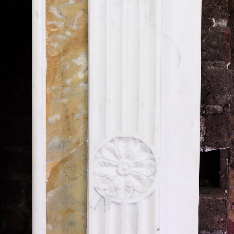 George III Style Statuary and Sienna Marble Neoclassical Fireplace For Sale 5