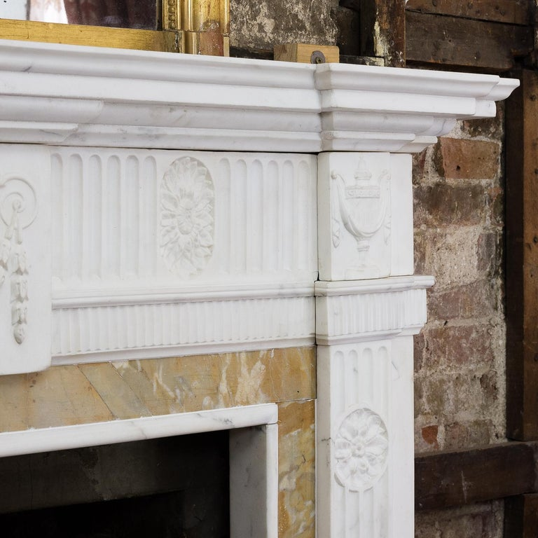George III Style Statuary and Sienna Marble Neoclassical Fireplace For Sale 7