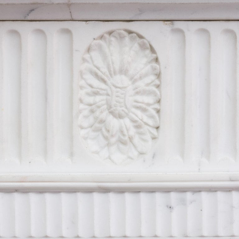 George III Style Statuary and Sienna Marble Neoclassical Fireplace For Sale 8