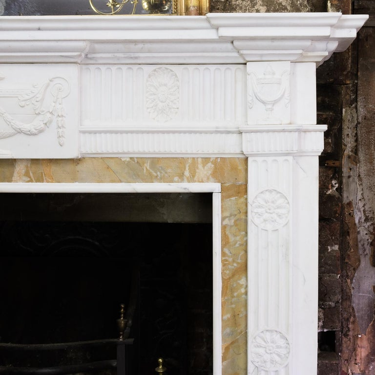 George III Style Statuary and Sienna Marble Neoclassical Fireplace For Sale 9