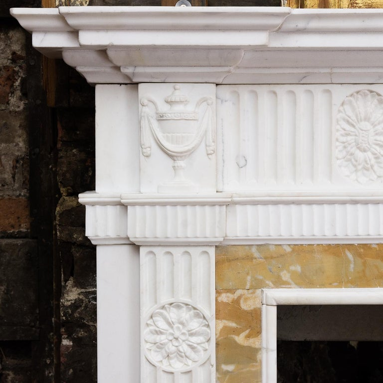 George III Style Statuary and Sienna Marble Neoclassical Fireplace For Sale 10
