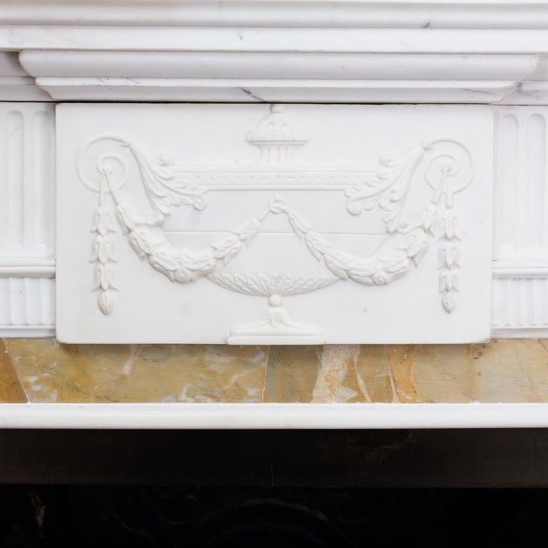 George III Style Statuary and Sienna Marble Neoclassical Fireplace For Sale 11