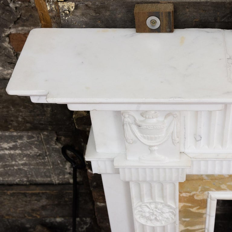 British George III Style Statuary and Sienna Marble Neoclassical Fireplace For Sale