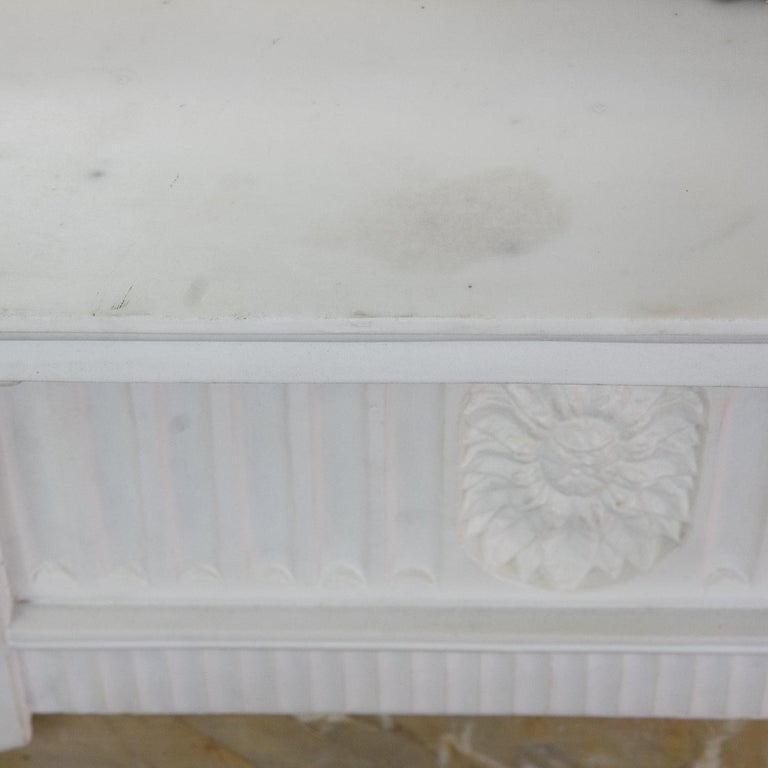 Hand-Carved George III Style Statuary and Sienna Marble Neoclassical Fireplace For Sale