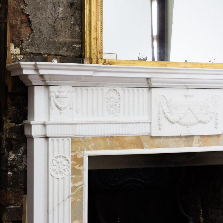 Early 20th Century George III Style Statuary and Sienna Marble Neoclassical Fireplace For Sale