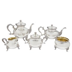 George III Style Sterling Silver Five-Piece Tea and Coffee Service by Whiting