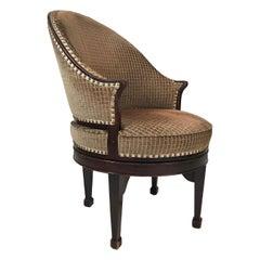 George III Style Upholstered Swivel Chair